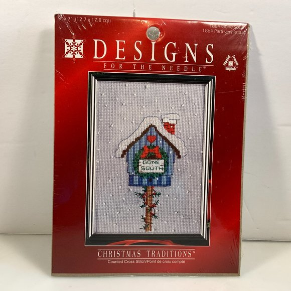 Designs for the Needle Other - Gone South Bird House Christmas Cross Stitch